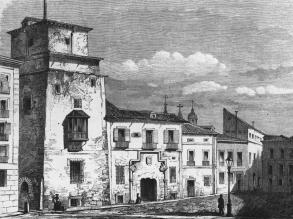 Torre y Casas de los Lujanes - Grabado de 1843