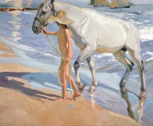 El baño del caballo - Joaquín Sorolla y Bastida (1909)