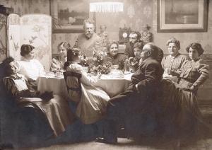 Joaquín Sorolla y Mariano Benlliure con sus respectivas familias