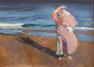 Pescadora con su hijo - Joaquín Sorolla y Bastida (1908)