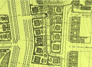 """Calle de Martinez de la Rosa, popularmente conocida como """"calle de la S"""", según el """"Plano general de Madrid"""" de Ibañez Ibero, realizado en 1875."""