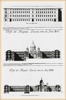 Fachada lateral y secciones del Hospital General  de San Carlos
