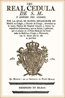 Real Cédula de fundación del Colegio de Cirugía de San Carlos (1780)