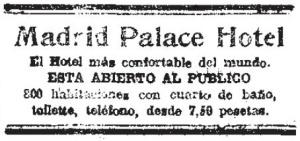 Apertura del Hotel Palace