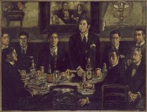 La tertulia del Pombo de Jose Gutiérrez Solana con la yamuy conocida botella de Mahou sobre la mesa