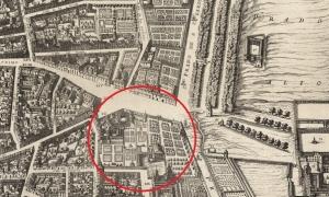 Plano de Texeira mostrando la zona donde se construyo el Hotel Palace
