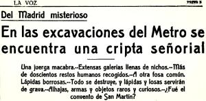 Cabecera del articulo publicado en el diario La Voz