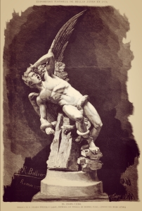 Dibujo del propio Ricardo Bellver de su escultura El Ángel Caído - Grabado de Arturo Carretero aparecido en La Ilustración Española y Americana del 30 de marzo de 1878