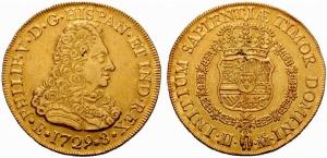 Felipe V - 8 Escudos 1729 Ceca de Madrid