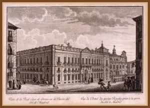 Vista de la Real Casa de Correos en la Puerta del Sol en el siglo XIX