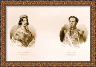 Retrato Isabel II y Francisco de Asis de Borbón