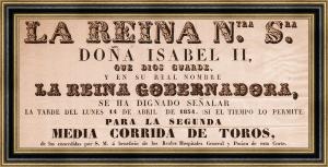 Cartel taurino de mediados del siglo XIX