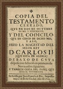 Copia del testamento de Carlos II