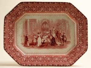 Fuente de loza estampada  de William Adams & Sons conmemorativa de las bodas de Isabel II y Luisa Fernanda - Museo Romántico de Madrid