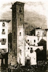 Iglesia de Santa - Litografía de F. Pérez del siglo XIX Cruz