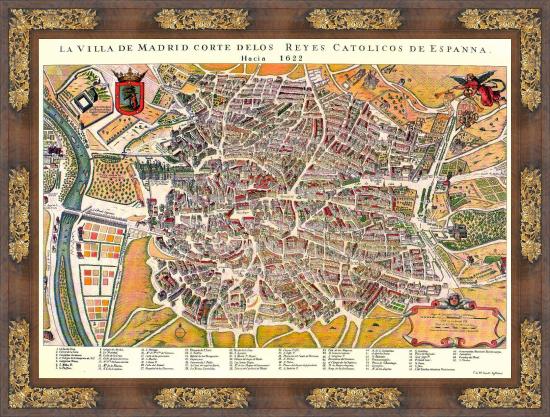 La Villa y Corte de Madrid según el plano realizado por Juan Gómez de Mora hacia 1622.