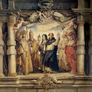 """Santa Clara entre los padres y doctores de la Iglesia"""" - Pedro Pablo Rubens"""