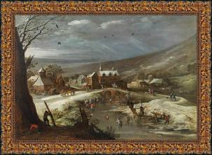 Jan Brueghel el Viejo y Joost de Momper II, Paisaje con patinadores (Siglo XVII)