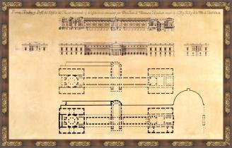 Plantas, alzados y perfil del Museo del Prado, Juan de Villanueva (1796)